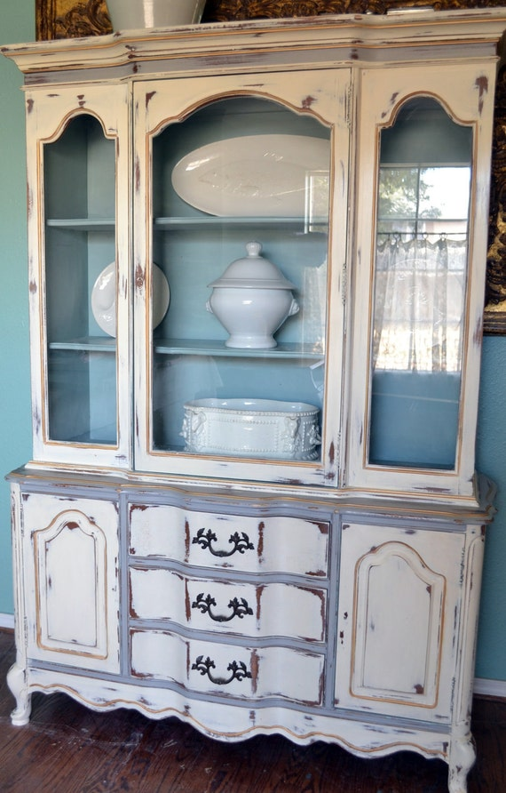 Items Similar To French China Cabinet Hutch White Gray