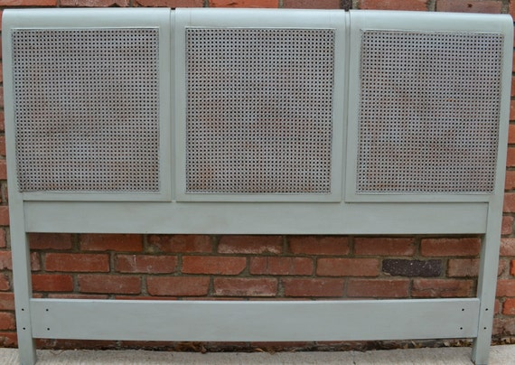 Cane Headboard Painted French Gray Queen