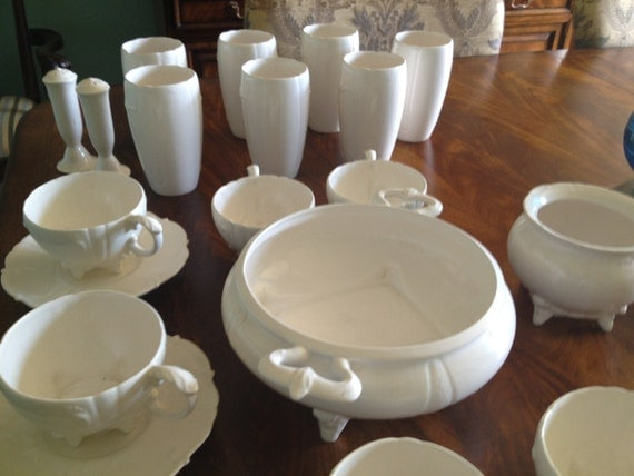 Signed Vintage Loma White China Pottery 21 Pieces Dinnerware Set Instant Collection