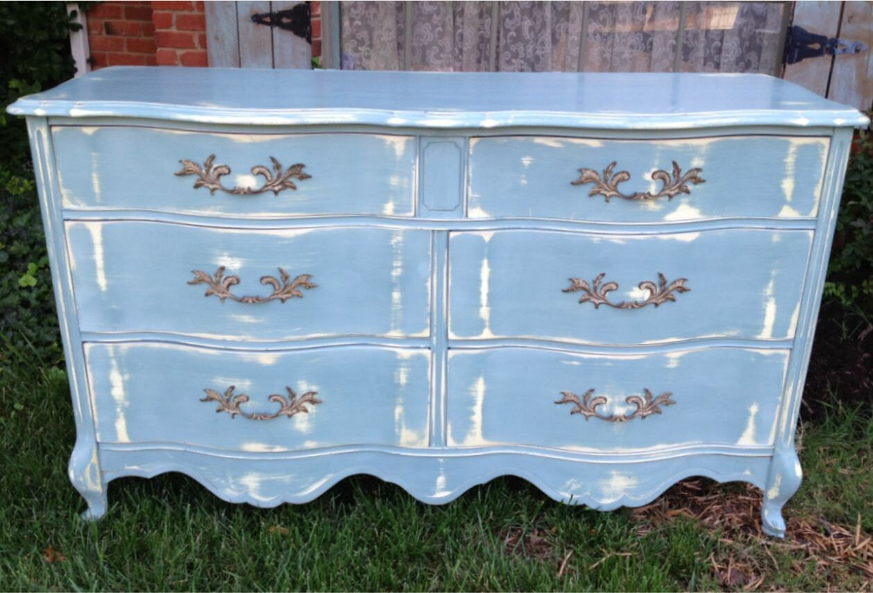 Vintage French Provincial Dresser Blue Gray Distressed By
