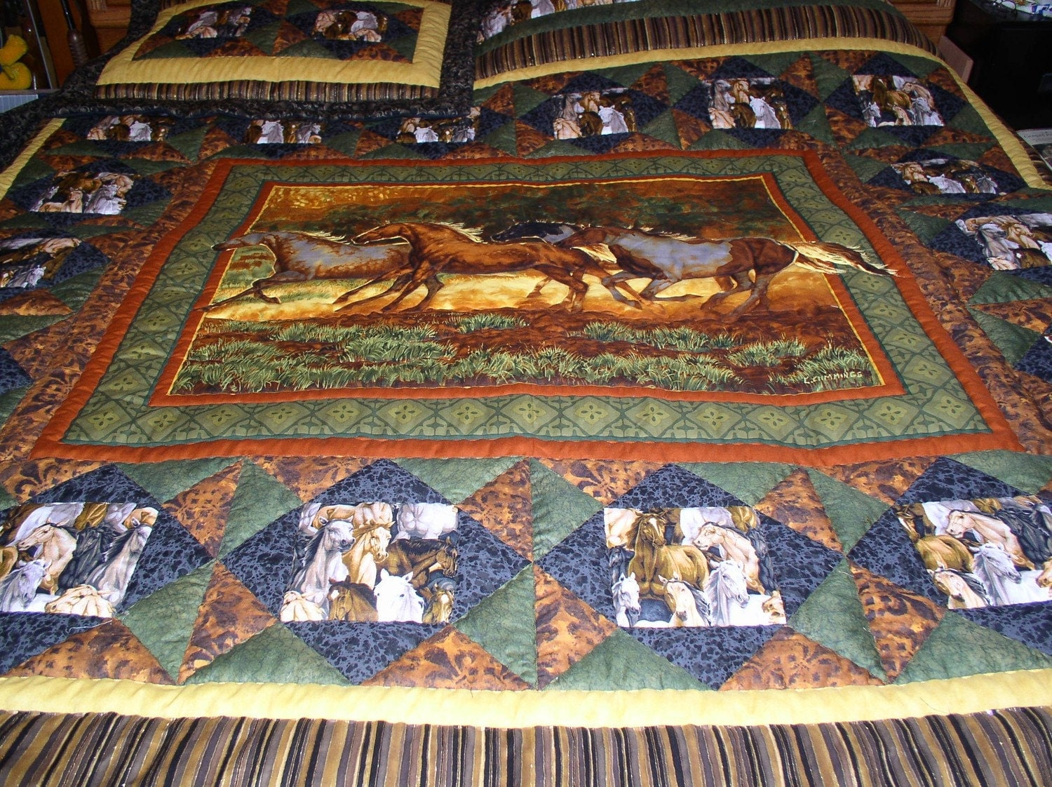 Quilt Patterns With Horses : Western horse quilt western bedding cabin quilt
