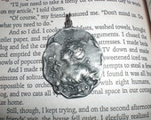 Vintage Pewter Pendant Girl - Gold'n Things - Silhouette of a Young Woman - Spring Flowers