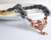 Unique One Of A Kind Ornate Garnet and Grey Silk necklace