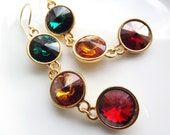 Turkish Delight Sparkly Swarovski Dangly Earrings - Topaz,  Emerald, Crystal Red Magma