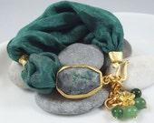 Green Bohemian Turkish Silk Bracelet -  Green Agate with Dark Green Silk Puffy Cord