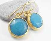 Sky Blue Earrings - Round Jade Stone Dangly With Vermeil Hooks - Spring, Classic