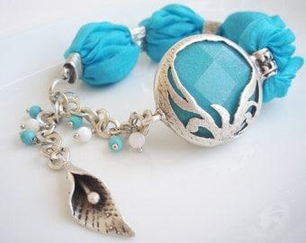 Turquoise Turkish silk bracelet