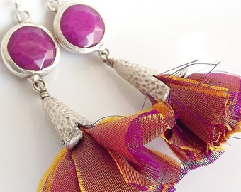 Dangly Fuchsia / Violet Earrings with Batik Silk Tassels