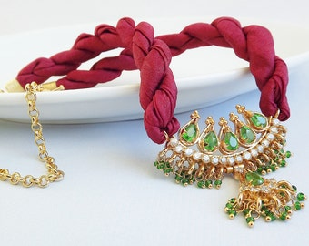 Unique One Of A Kind Ornate Emerald Green Cubic Zirconia and Bordeaux Red Silk necklace -
