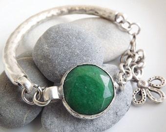 Emerald Green Jade Chain Bar Bracelet, Silver - Christmas