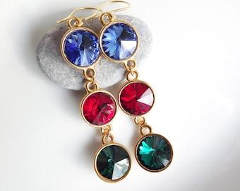 Turkish Delight Sparkly Swarovski Dangly Earrings - Trio, Triple, Sapphire, Siam, Emerald