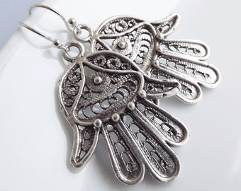 Hamsa Earrings - Hand of Fatima Dangly  - Medium - Sterling silver earwires
