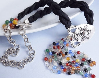 Overflowing Amphora & Black Silk Necklace With Multitcolored natural stones