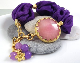 Purple Bohemian Turkish Silk Bracelet - Pale Pink Jade  / Flower charm Gold