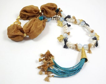 Artisan bohemian Cinnamon Mustard Silk Necklace with Moonstone Opal stones, Freshwater pearls and Turquoise stone tassel