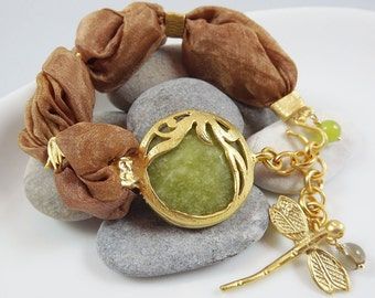 Exotic Organic Earthy Bohemian Turkish Silk Bracelet - Gold Plated, Apple Green, Cinnamon Mustard Silk, Dragonfly Charm