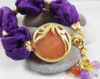 Exotic Organic  Bohemian Turkish Silk Bracelet - Gold Plated, Orange, Royal Purple Silk, Tulip Charm - Spring Fashion