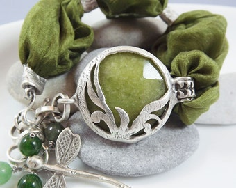 Olive Green Jade & Silk Turkish Bohemian Stacking Bracelet, Dragonfly Charm - Christmas