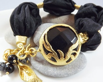 Exotic Organic Bohemian Turkish Silk Bracelet - Gold Plated, Onyx Stone, Black Silk, Tulip Charm - Spring fashion