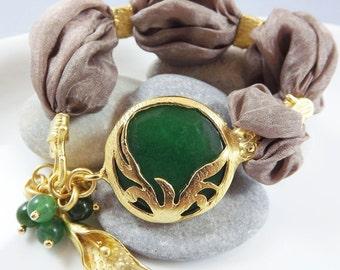 Exotic Organic Bohemian Turkish Silk Bracelet - Gold Plated, Deep Green Jade Stone, Taupe Silk, Tulip Charm - Spring fashion