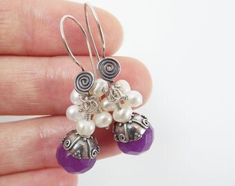 Berry Purple Sterling Silver Scroll Dangly Earrings - Jade & Freshwater Pearls