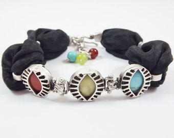 Black Turkish Silk Bracelet with Agate and Turquoise Semi Precious Natural Stones - Exotic Trio Eye - Summer Fashion