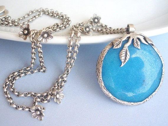Deep Turquoise Cascading leaves pendant - long necklace