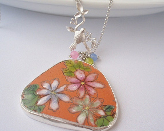 CLEARANCE / DESTASH -  Delicate ancient Ming dynasty pottery shard necklace - Triple flowers