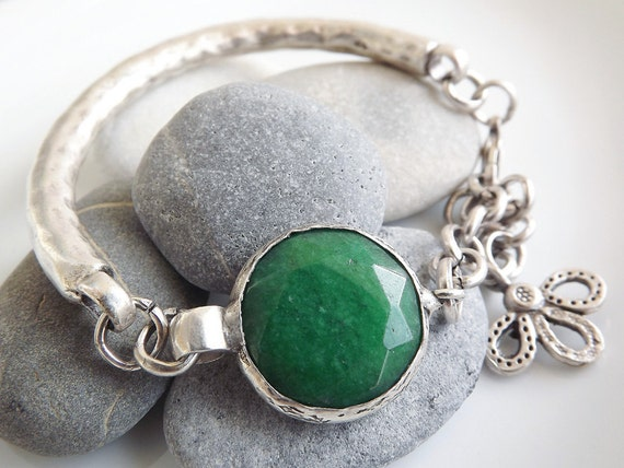 Emerald Green Jade Chain Bar Bracelet, Silver - Christmas