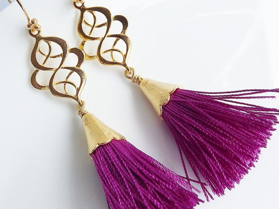 Dangly Swirly Marquise Arabesque Tassel Earrings - Violet Gold - Valentines Day Gift