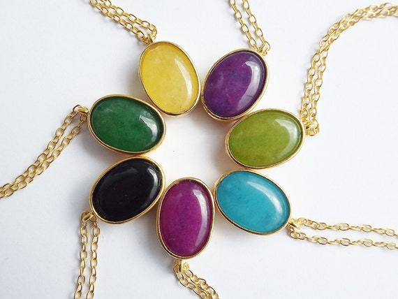 Spring Beans Necklace Collection - Colorful Oval Pendants With Delicate Chain - Yellow