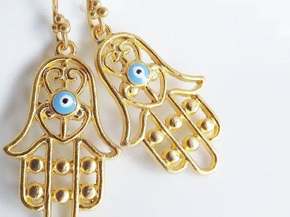 Hamsa - Hand of Fatima Dangly Earrings - Turquoise
