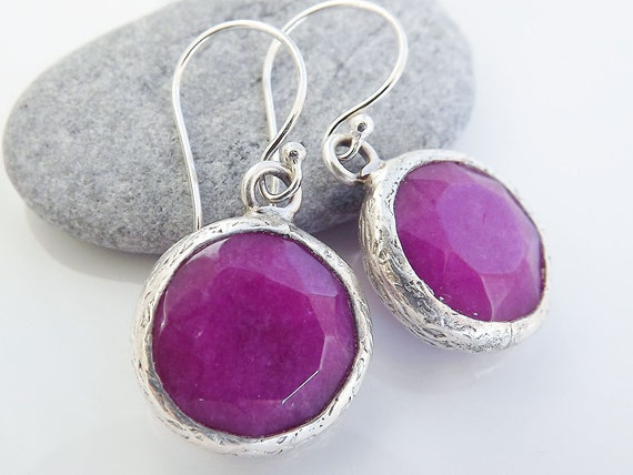 Violet Round Jade Stone Drop Earrings With Sterling Silver Hooks - Spring, Classic - Christmas