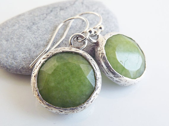 Lime Green Round Jade Stone Drop Earrings With Sterling Silver Hooks - Spring, Classic - Christmas