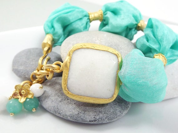 Minty Turquoise Bohemian Turkish Silk Bracelet -  White Jade with Silk Puffy Cord and Flower Charm - spring fashion