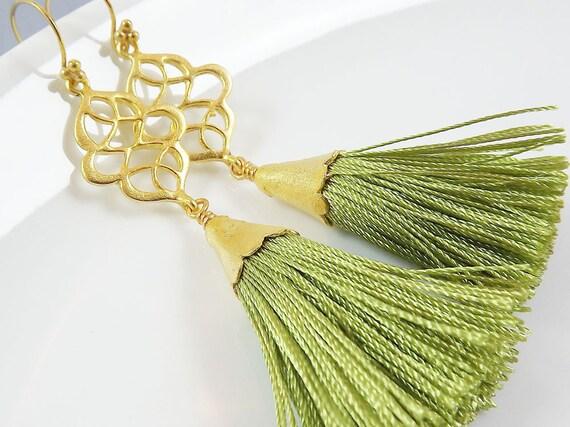 Dangly Swirly Marquise Arabesque Tassel Earrings - Apple Green - Gold