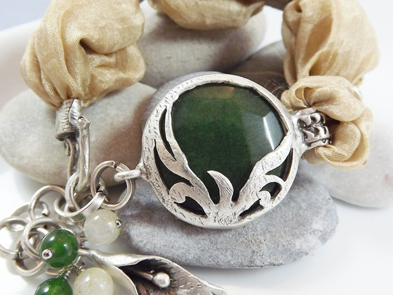 Exotic Organic Bohemian Turkish Silk Bracelet - Silver Plated, Dark Green Jade, Gold / Caramel Silk, Tulip Charm - Spring fashion