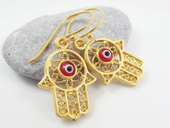 Hamsa - Hand of Fatima Dangly Earrings - Red Lucky & Protective Artisan Glass Evil Eye - Nazar