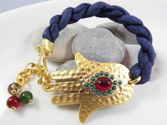Hamsa - Hand of Fatima Navy Silk Bracelet - Gold