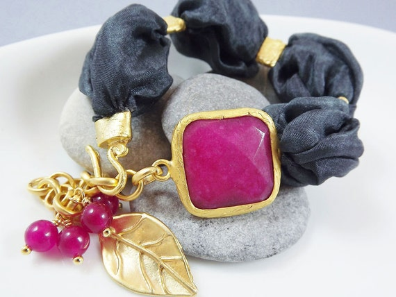 Berry Red & Deep Gray Bohemian Turkish Silk Bracelet -  Berry Colored Jade with Silk Puffy Cord and Leaf Charm - spring fashion