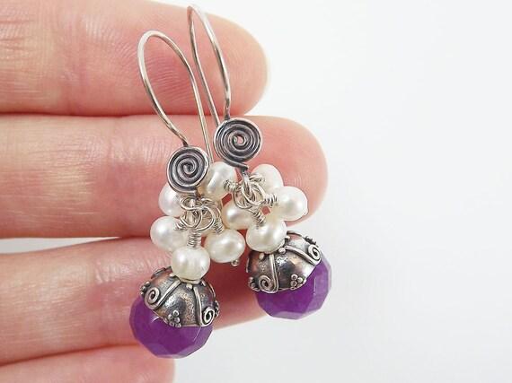 Berry Purple Sterling Silver Scroll Dangly Earrings - Jade & Freshwater Pearls
