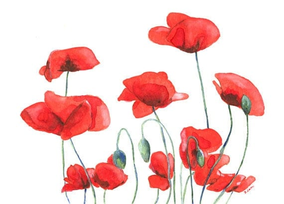 SALE 30% - Poppy Field - Original Watercolor painting 8x11 inches and mount - reserved for  Nicky