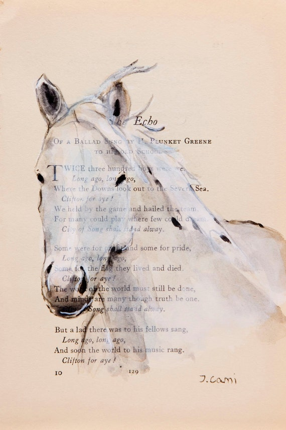 Horse VII - Original Watercolor Painting - on Antique Book page - 7x5inches