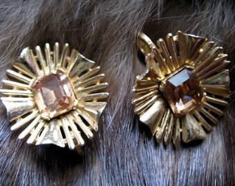 Crown Trifari topaz Sunburst Earrings