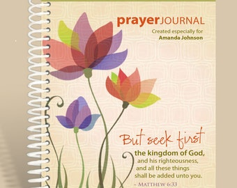 Journal / Notebook / Personalized Journal Spring Flowers (Peach) - Matthew 6:33/