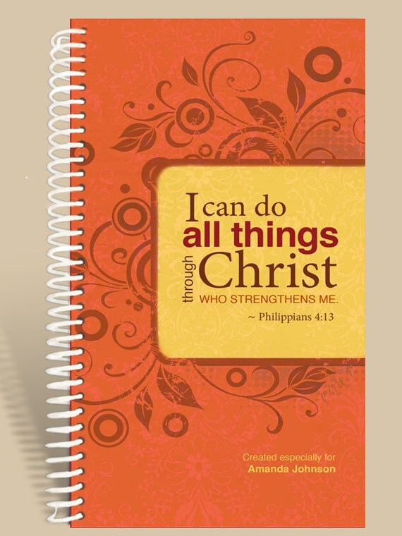 CYBER MONDAY Sale Personalized Notebook / Prayer Journal - Philippians 4:13 - Cranberry Orange/