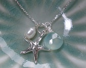 The Enchanted Sea - Aqua Blue Chalcedony Gemstone, Freshwater Pearl, and Starfish Sterling Silver Necklace