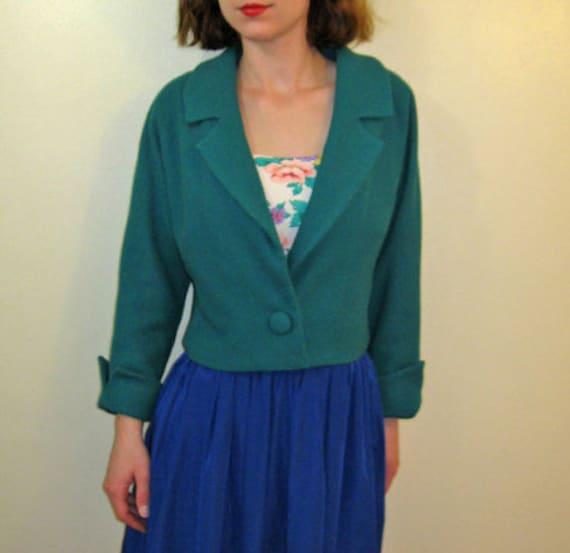 Vintage 1960's Cropped Jacket Green Crop Blazer  S/M- SALE