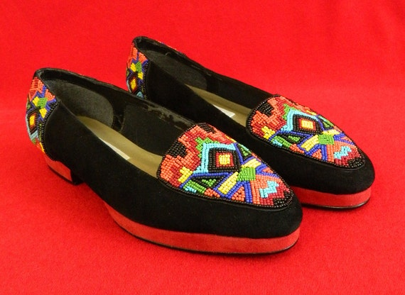 Mosaic Shoes Beaded Black Suede Platform Heels Size 10