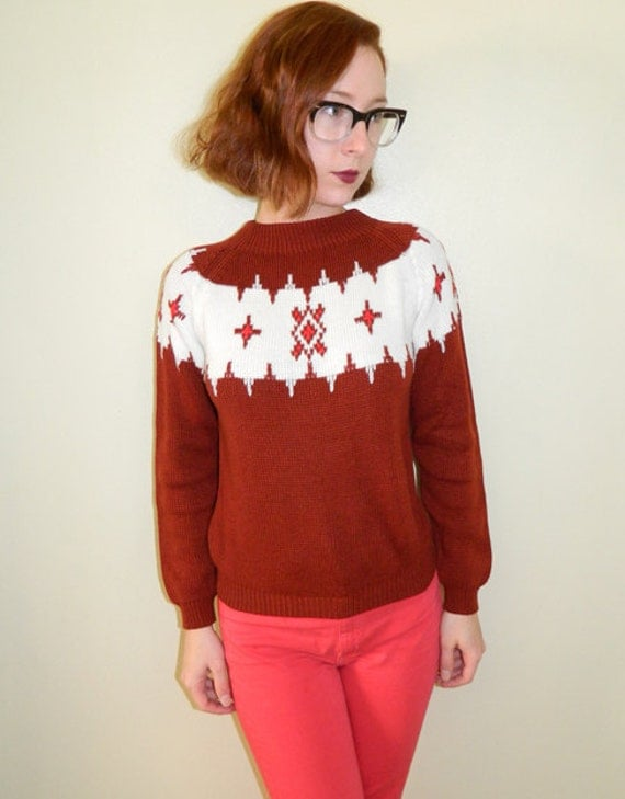Vintage Nordic Sweater Burnt Sienna XS/S